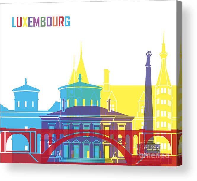 Luxembourg Acrylic Print featuring the painting Luxembourg Skyline Pop by Pablo Romero