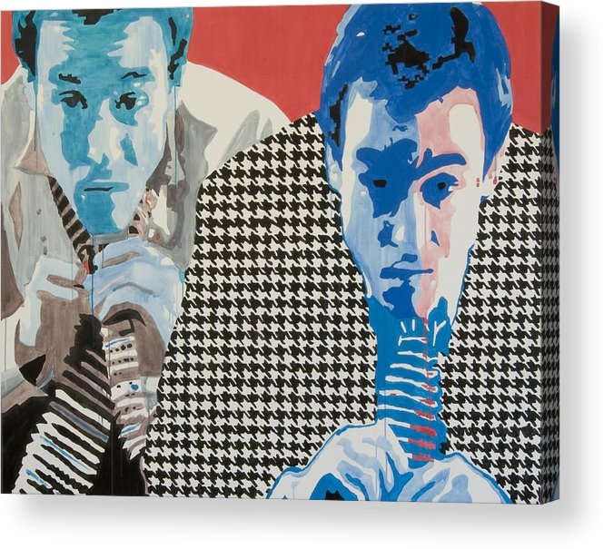 Portrait Acrylic Print featuring the painting Man In A Houndstooth Suit by Pete Nawara
