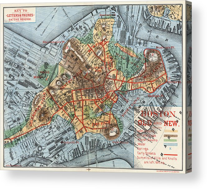 1880 Acrylic Print featuring the photograph Map: Boston, C1880 by Granger