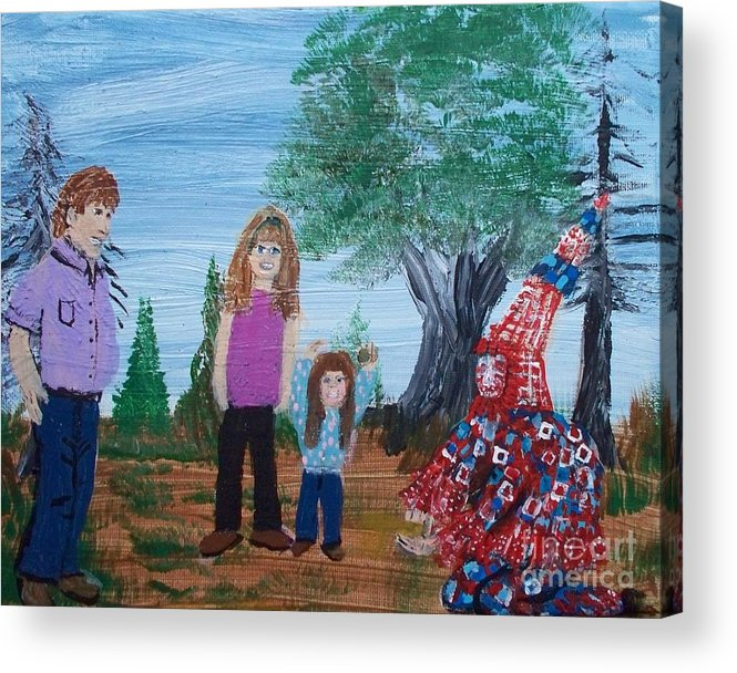 Mardi Gras Beggar And The Children Acrylic Print featuring the painting Mardi Gras Beggar And The Children by Seaux-N-Seau Soileau