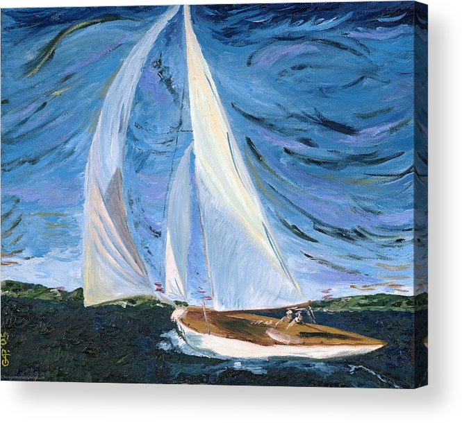 Sailboat Acrylic Print featuring the painting Marriage by Gregory Allen Page