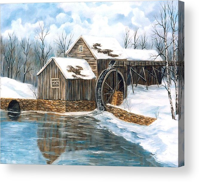 Painting Landscape Acrylic Print featuring the painting Maybry Mill by Marveta Foutch