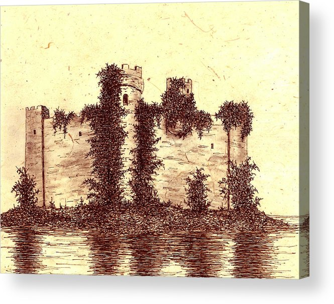 Castle Acrylic Print featuring the drawing Medieval Castle by Michael Vigliotti