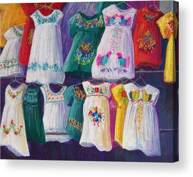 Dresses Acrylic Print featuring the pastel Mexican Dresses by Candy Mayer