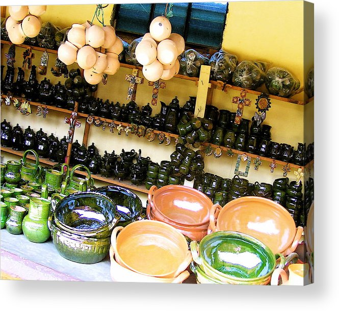 Mexican Acrylic Print featuring the photograph Mexican Pottery by Michael Peychich