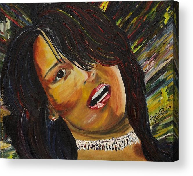 Portrait Painting Acrylic Print featuring the painting Miami Latina by Gregory Allen Page