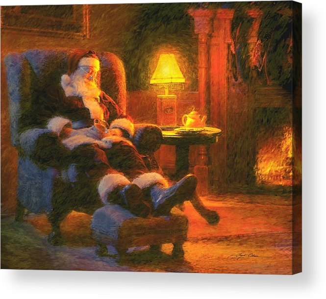 Santa Claus Acrylic Print featuring the painting Milk And Cookiezzzzz by Greg Olsen
