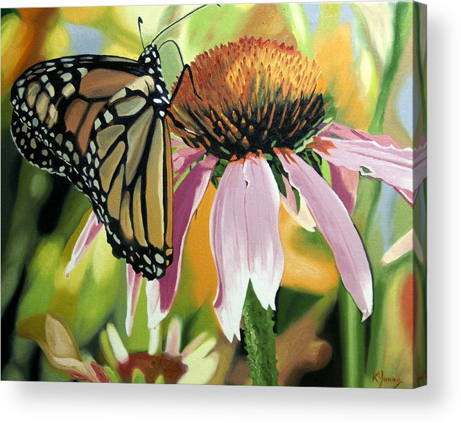 Butterfly Acrylic Print featuring the painting Monarch by Kenneth Young