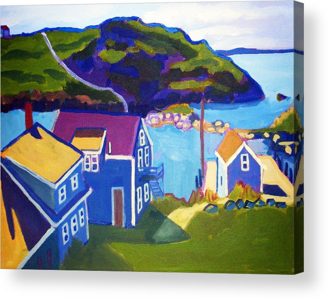 Seascape Acrylic Print featuring the painting Monhegan Harbor by Debra Bretton Robinson