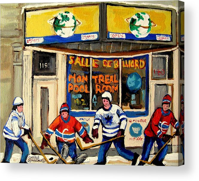 Montreal Acrylic Print featuring the painting Montreal Poolroom Hockey Fans by Carole Spandau