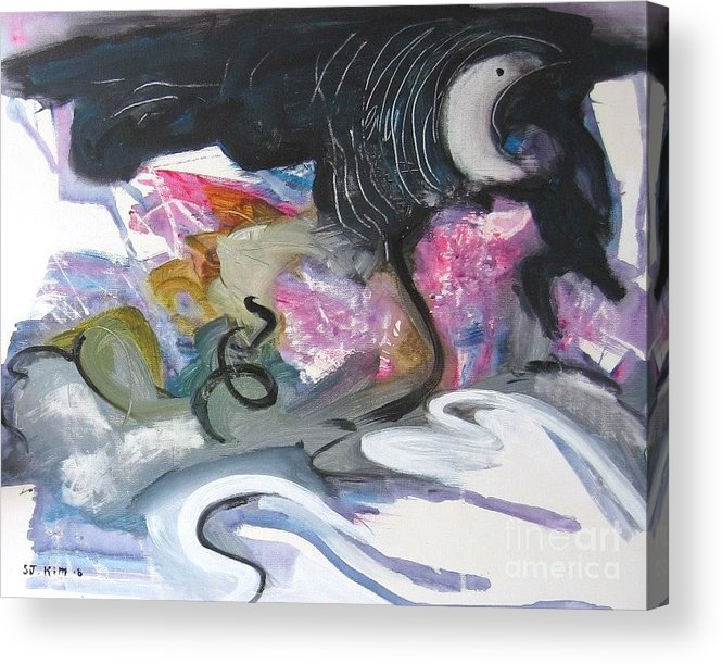 Abstract Paintings Acrylic Print featuring the painting Moonlight Fever by Seon-Jeong Kim