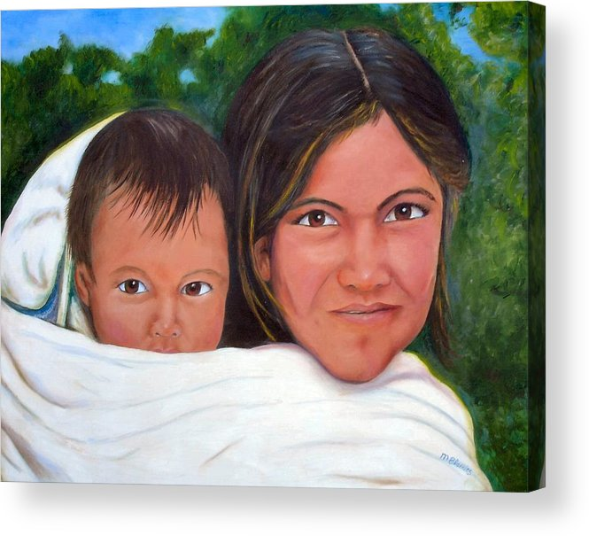 Portrait Acrylic Print featuring the painting Mother And Child by Merle Blair