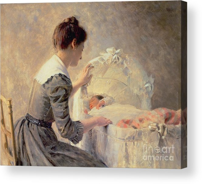Motherhood Acrylic Print featuring the painting Motherhood by Louis Emile Adan