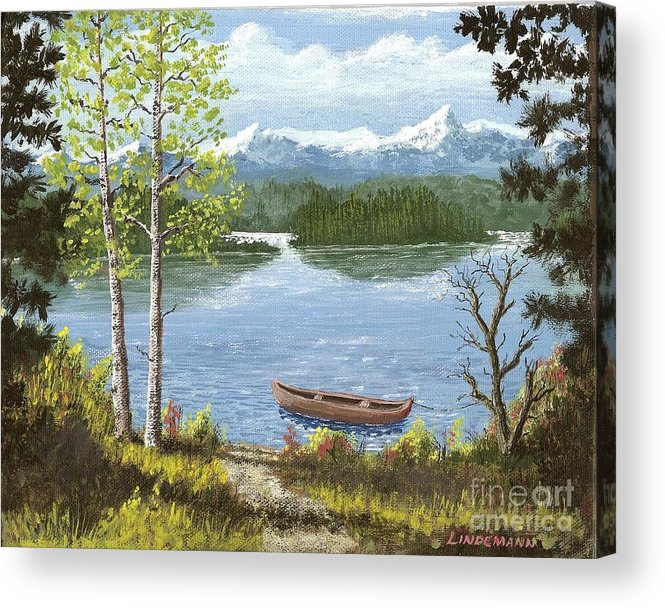 Mountain Acrylic Print featuring the painting Mountain Lake by Don Lindemann