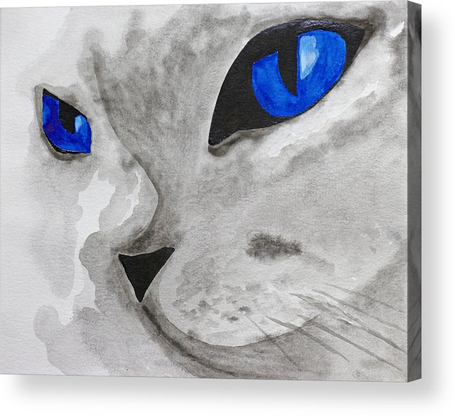 Cat Acrylic Print featuring the painting Mr Silver by Iryna Goodall