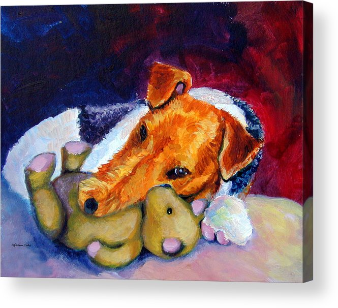 Wire Haired Fox Terrier Acrylic Print featuring the painting My Teddy - Wire Hair Fox Terrier by Lyn Cook