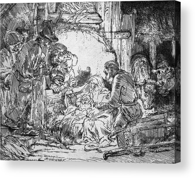 Adoration Of The Shepherds; Shepherd; Infant Jesus Christ; Baby; Child; Joseph; Virgin Mary; Madonna; Holy Family; Stable; Manger; Ox; Oxen; Straw Acrylic Print featuring the drawing Nativity by Rembrandt