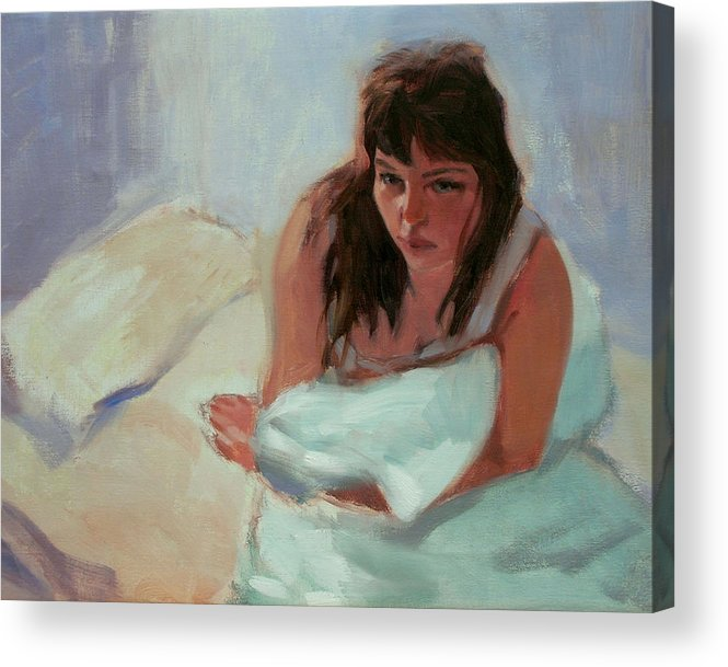 Portrait Acrylic Print featuring the painting Nicole In The Morning by Merle Keller