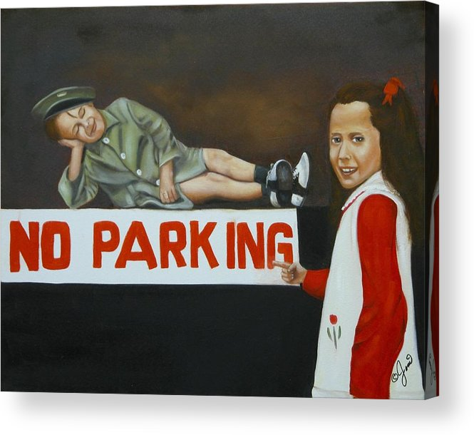 Child Acrylic Print featuring the painting No Parking by Joni McPherson