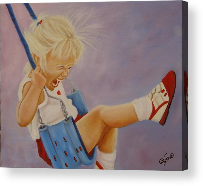 Child Acrylic Print featuring the painting Not A Worry Not A Care by Joni McPherson