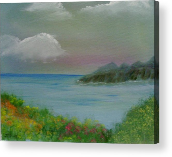 Ocean Acrylic Print featuring the painting Ocean Meadow by Dottie Briggs