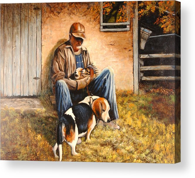 A Painting A Day Acrylic Print featuring the painting Old Man And The Beagle Pups by Connie Tom