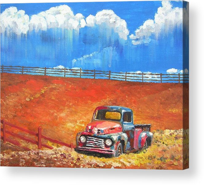 Automobile Acrylic Print featuring the painting Old Rusty by Janos Szatmari