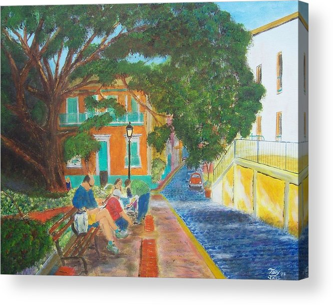Landscape Acrylic Print featuring the painting Old San Juan Street Scene by Tony Rodriguez