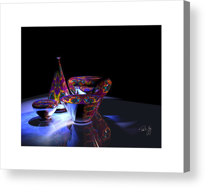Glass Acrylic Print featuring the mixed media One Vase And Three Bowls by Paul Gaj