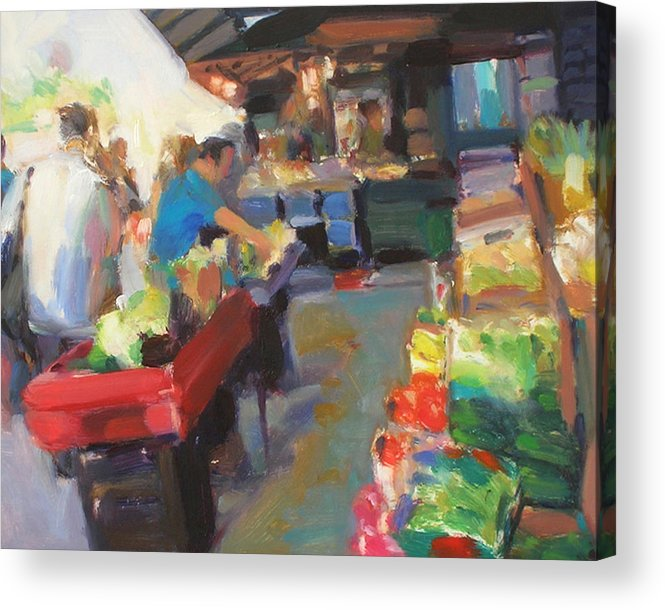 Outdoor Market Acrylic Print featuring the painting Outdoor Market by Merle Keller