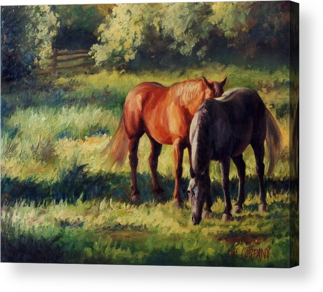 Horse Acrylic Print featuring the painting Pasture At Whites Crossing   Horse Painting by Kim Corpany