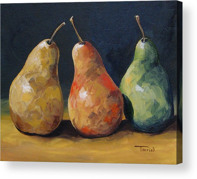 Pear Acrylic Print featuring the painting Pear Trio by Torrie Smiley