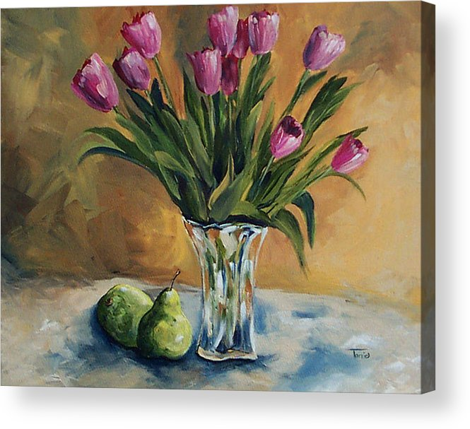 Tulips Acrylic Print featuring the painting Pears And Pink Tulips by Torrie Smiley