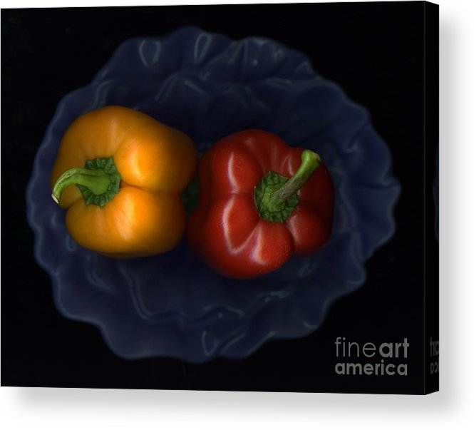 Slanec Acrylic Print featuring the photograph Peppers And Blue Bowl by Christian Slanec