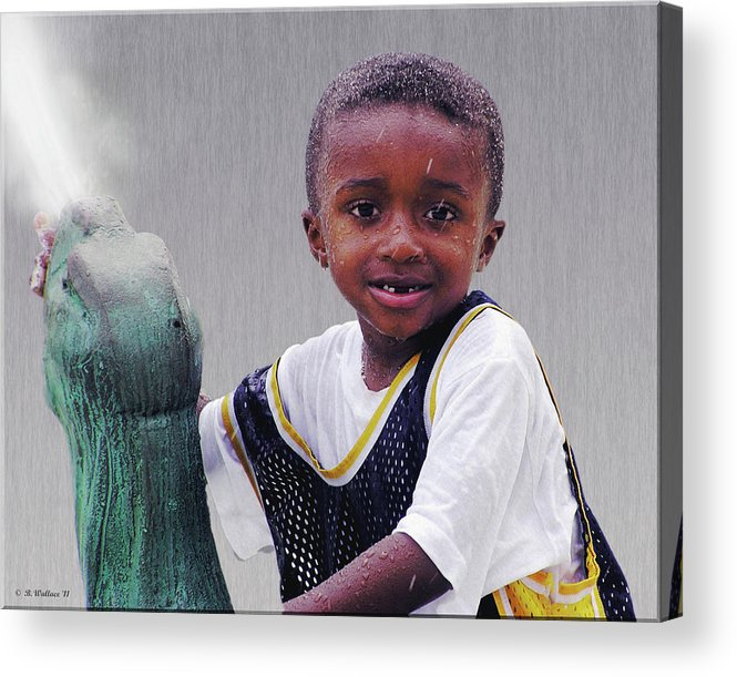 2d Acrylic Print featuring the photograph Philly Fountain Kid by Brian Wallace