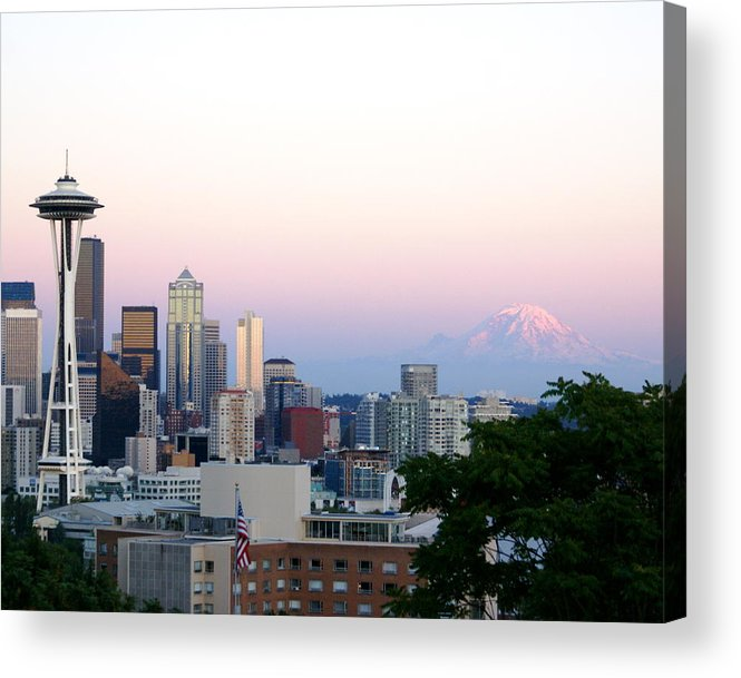 Cityscape Acrylic Print featuring the photograph Pink Sky Over Mount Rainier by Sonja Anderson