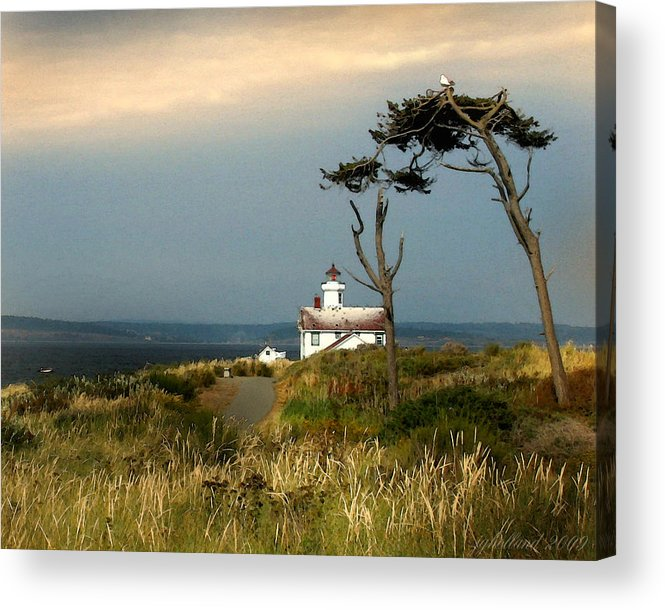 Lighthouse Acrylic Print featuring the digital art Point Wilson Lighthouse Puget Sound Watercolor by Joseph G Holland