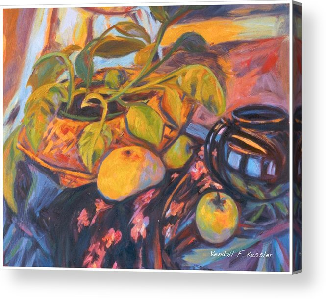 Still Life Acrylic Print featuring the painting Pollys Plant by Kendall Kessler