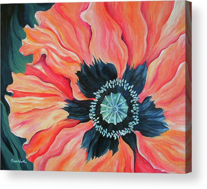 Poppy Acrylic Print featuring the painting Poppy For A New Day by Nicole Werth
