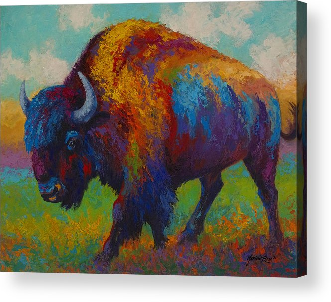 Bison Acrylic Print featuring the painting Prairie Muse - Bison by Marion Rose