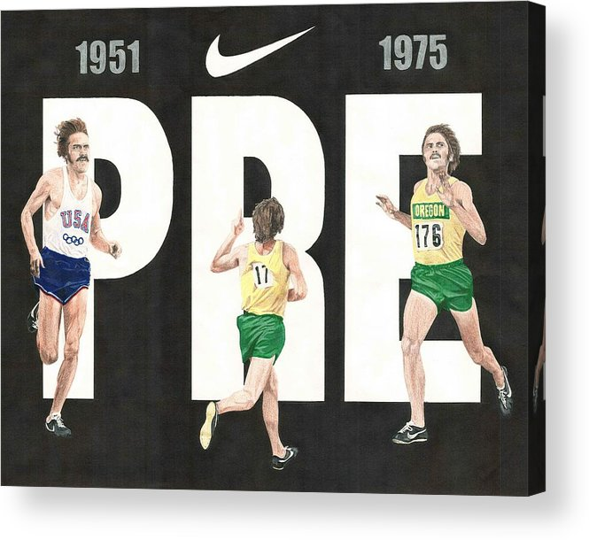 Steve Prefontaine Acrylic Print featuring the drawing PRE by Chris Brown