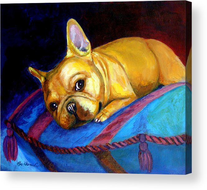 French Bulldog Acrylic Print featuring the painting Princess And Her Pillow French Bulldog by Lyn Cook