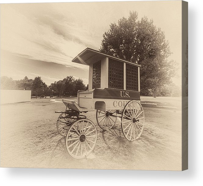 Fort Smith Acrylic Print featuring the photograph Prison Wagon In Sepia by James Barber
