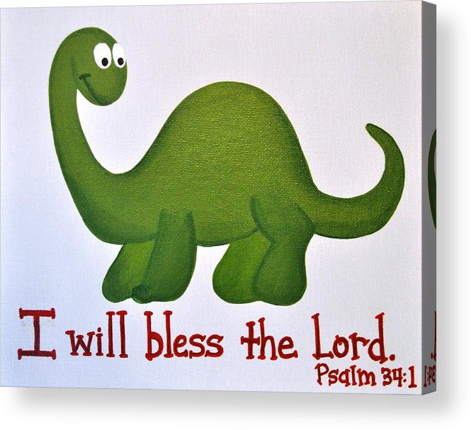 Dinosaur Acrylic Print featuring the painting Psalm 34 Dinosaur by Ashlee Tolleson