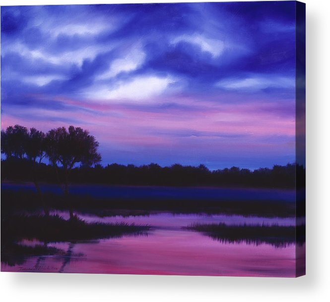 Sunrise Acrylic Print featuring the painting Purple Landscape Or Jean's Clearing by James Christopher Hill