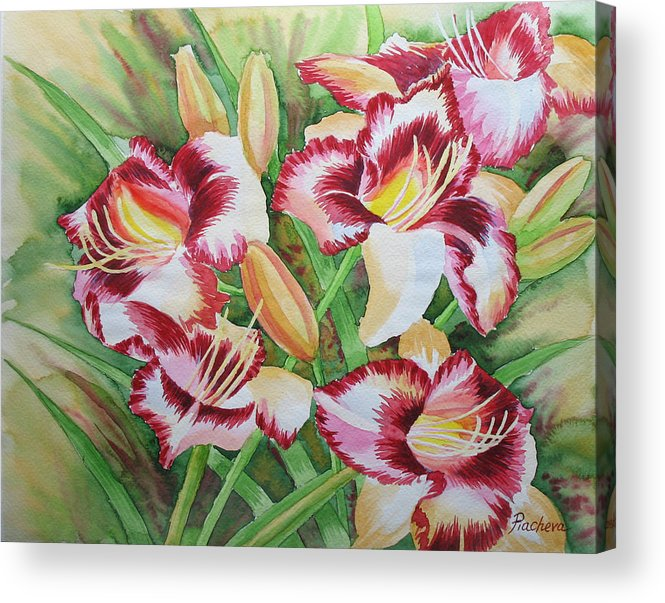 Watercolor Acrylic Print featuring the painting Purple Lilies.2007 by Natalia Piacheva