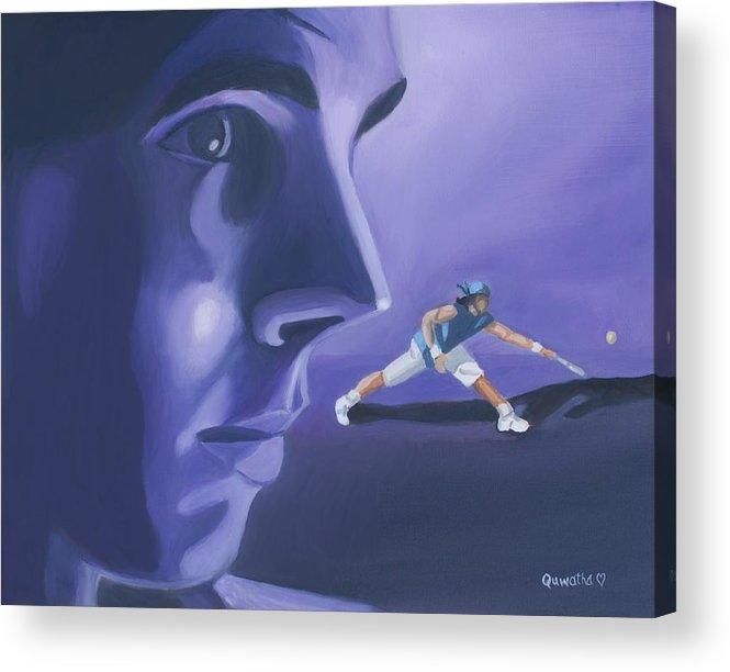Raphael Acrylic Print featuring the painting Rafael Nadal by Quwatha Valentine