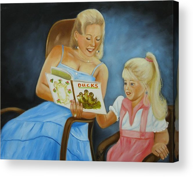 Portraits Acrylic Print featuring the painting Reading With Gramma by Joni McPherson