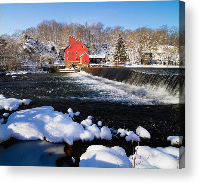 Blue Sky Acrylic Print featuring the photograph Red Mill In Winter Landscape by George Oze