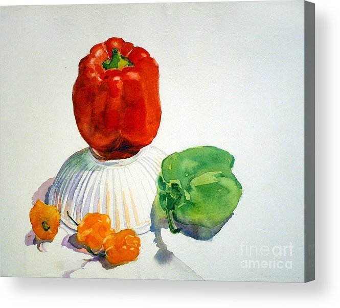 Peppers Acrylic Print featuring the painting Red Rules by Elizabeth Carr